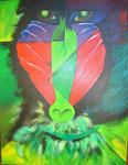 Mandrill grün  75cm x 90 cm   Preis a.A.