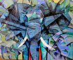 blauer Elefant  90cm x 110cm     verkauft