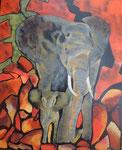Elefant mit Kind  90cm x 110cm   Preis a.A.