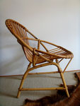 Fauteuil coquille rotin vintage