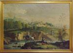 Oil painting on canvas applied on board - Landscape - 1920 - Dipinto ad olio su tela applicato su tavola - Paesaggio - 1920 - Misure dipinto cm 62 X cm 86 - cornice cm 69 X cm 93,5