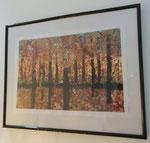 Herbstwald auf Papier mit Rahmen