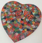 Acrylbild auf Leinwand / Keilrahmen : Herz - Love - Durchmesser ca. 30 cm / Mai 2016