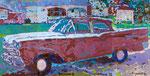 """car 2"" aus dem Projekt ""cars & girls"", 1993, 180x360 cm, Öl auf Leinwand"