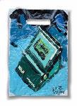 """Aus der Serie """"Wundertüte"""", 2001, Lackfarbe auf Eikaufsplastiktüte, 20x30 cm"""