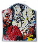 """Aus der Serie """"Wundertüte"""", 2001, Lackfarbe auf Eikaufsplastiktüte, 50x45 cm"""