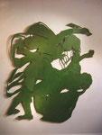 """""""Kain & Abel & (Aus der Kinderbibel)"""", 2001, Sperrholz durchbrochen und Ölfarbe, 185x153 cm"""
