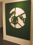 """""""Optiker"""", 2002, Sperrholz durchbrochen und Ölfarbe, 184x153 cm"""