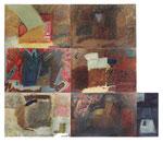"""""""Шесть вариантов коробки с подарками"""", 1990, масло, холст, из 7 холстов: общий размер 300x350 cm"""