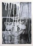Ohne Titel, Monotypie, Linoldruck und Acrylfarbe auf Karton, 29,0 x 21,0 cm, 2013