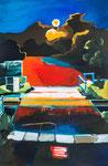 Meenz 2, 2014, Acryl auf Leinwand, Ziergarn, 120 x 90 cm