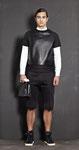 crew neck sweater / leather and sweat kombination € 249,- white shirt € 159,- sweat pants € 159,- bag white/black € 189,-