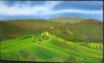"""""""Il belvedere, Val d'Orcia, Toscana"""" Olio su tavola - 15x25 - 2012 - Collezione privata"""
