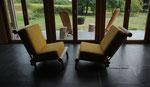 Coussins sur mesure pour ces fauteuils conçus par le client. Tissu Nobilis Paco