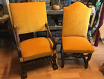 Fauteuil Louis XIII, velours Lemming Luciano Marcato