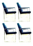 Milo Baughman, set of four dinning chair in steel and blue velvet, 1970s