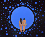 Der blaue Planet, Öl auf Leinwand 110 x 90 cm, 2017. The blue planet.