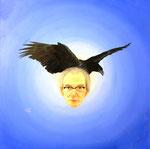 Komm großer schwarzer Vogel, Öl auf Leinwand, 80x80cm.