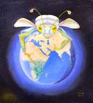 Globalisierung, Öl auf Holz 42,5x48cm, 2012. Oil on wood.
