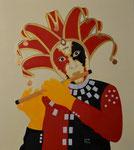 Der traurige  Harlekin / The sad harlequin, Öl auf Leinwand 70 x 80 cm, 2021. Oil  on canvas.