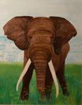 Elefant, Öl auf Holz 52x36cm,