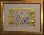 Szenario; Blattgold, Tusche und Pastell auf Papier, 48x38cm inkl. Rahmen. Gold leaf, ink and pastel on paper inkl. frame. 2017