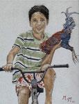 L'enfant et son coq - 29 x 38 - VENDU