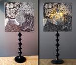 """""""William Morris""""  - Hauteur 81 cms - pied 17 cms - largeur 36 cms - bois noir et abat-jour création unique collages et peinture - 140€"""