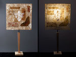 """""""R'Oche - pied bois naturel  - Abat-jour : collages dessin sur calque - jeux de transparences -  Hauteur 73 cm - largeur 36 cm - 150€"""