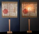 Code - GA - pied bois naturel  - Abat-jour : collages assemblage - jeux de transparences -  Hauteur 73 cm - largeur 36 cm - 150€