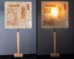 """""""C'Oquille - pied bois naturel  - Abat-jour : collages dessin sur calque - jeux de transparences -  Hauteur 73 cm - largeur 36 cm - VENDUE"""