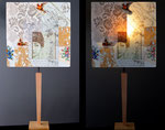 """""""G'Ouffeé"""" - pied bois et abat-jour collages - jeux de transparences -  Hauteur 73 cm - largeur 36 cm - 190€"""