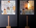"""""""G'Ouffeé"""" - pied bois et abat-jour collages - jeux de transparences -  Hauteur 73 cm - largeur 36 cm - VENDUE"""