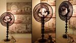"""""""Passereaux"""" - Hauteur 77 cm - pied 17 cm - largeur 35 cm - Pied laqué noir - Ampoule à filaments - Création unique - 180€"""