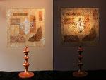 """""""Paon"""" - pied bois patiné cuivre  - Abat-jour : collages dessin sur calque - jeux de transparences -  Hauteur 65 cm - largeur 36 cm"""