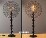 """""""ferrOnneries""""  120€ pièce - Hauteur 77 cms - pied 17 cm - largeur 35 cm - Pied laqué noir - Ampoule à filaments - VENDUES !"""