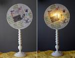 Origam - pied bois peint  - Abat-jour : collages dessin sur calque - jeux de transparences -  Hauteur 73 cm - largeur 35 cm - 150€