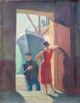HP 73 « Bateau, marin et femme » (idem HT 9), huile sur bois , 39 x 27, non signé