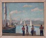 """HP76 """"un dimanche matin à st Tropez», huile sur bois avec cadre, 41 x 33"""