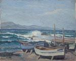 """HP118 """"barques sur la plage"""", huile sur bois 41 x 33"""