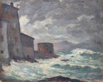 """HP111 """"la tempête"""", huile sur bois 41 x 33"""