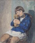 HP 48 « Petite fille au chien » (Françoise), huile sur bois (HP 48),  56 x 46, non signé