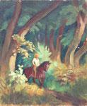 HP 51 « Cavalière en forêt », huile sur bois (HP 51), 46 x 38, non signé