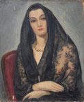 HP 46 « portrait de femme à la mantille » (cicette), huile sur bois (HP 46), 55 x 46, signé,