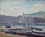 """HP122"""" barque de pêcheurs"""", huile sur bois 41 x 33"""