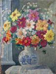 HP 82 « Fleurs au vase hollandais », gouache sur papier fixé sur toile, 73 x 54, signé,