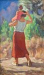 HP 78 « femme et enfant marchant de dos », huile sur bois , 62 x 40, signé