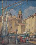 HP 72 « le port de St Tropez », huile sur bois, 41 x 33, coll. part