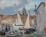"""HP105 """"St Tropez, le port"""" huile sur bois 41 x 33"""
