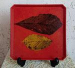 隅切盆「 葉 」 27.4×27.4×1.8cm 個人蔵